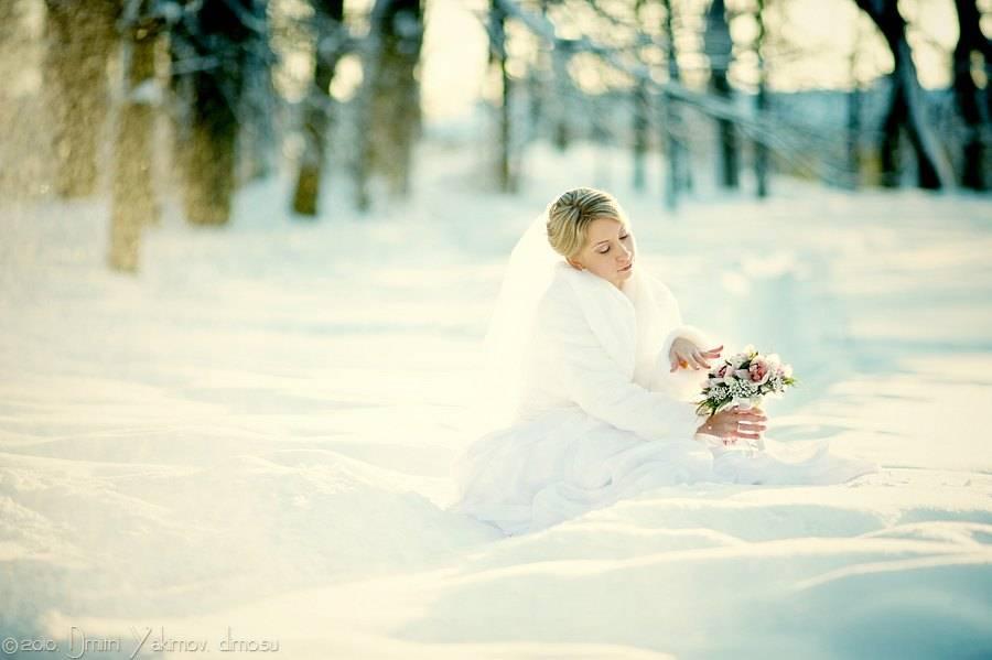 Зимнее свадебное фото