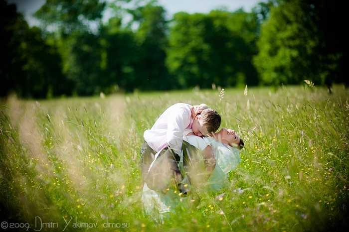 свадебное фото, поле